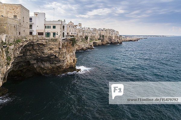 View of the overhanging houses and caves of Polignano a Mare. Bari district  Apulia  Italy  Europe.