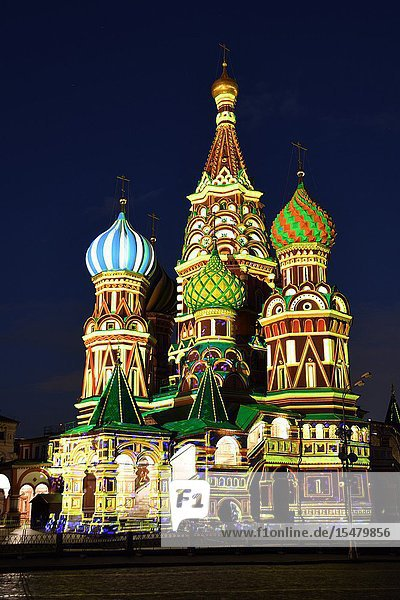 Illuminated in different colors of Saint Basil's Cathedral (Cathedral of Vasily the Blessed)  Red Square  Moscow  Russia.