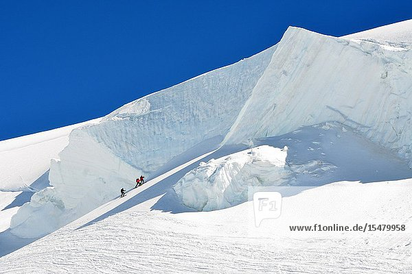 Huge seracs climbing Capanna Margherita (Margherita hut) Monte Rosa  Aosta Valley Italy.