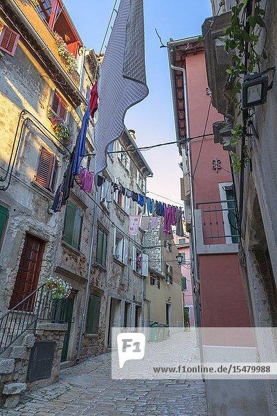 Rovinj - Rovigno  a narrow cobblestone street/alley in the old town  Istria  Adriatic coast  Croatia.