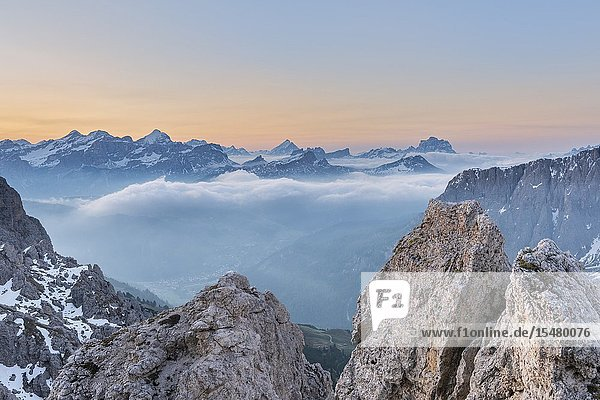 Gran Cir  Gardena Pass  Dolomites  Bolzano district  South Tyrol  Italy  Europe. View just before sunrise from the summit of Gran Cir to the mountains of Tofane  Sorapiss  Antelao and Mount Pelmo.