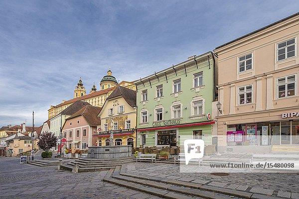 Melk  Wachau  Lower Austria  Austria  Europe. The town of Melk.