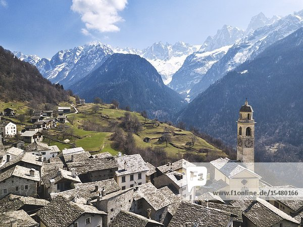 Village of Soglio aerial view in Bregaglia Valley  Switzerland  Europe.