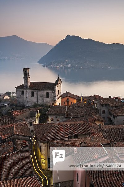 Vesto  fraction of Marone  at sunset in Iseo lake  Lombardy district  Brescia province  Italy  Europe.
