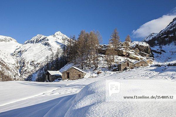 Stone huts covered with snow  Alpe dell'Oro  Valmalenco  Valtellina  Sondrio province  Lombardy  Italy.