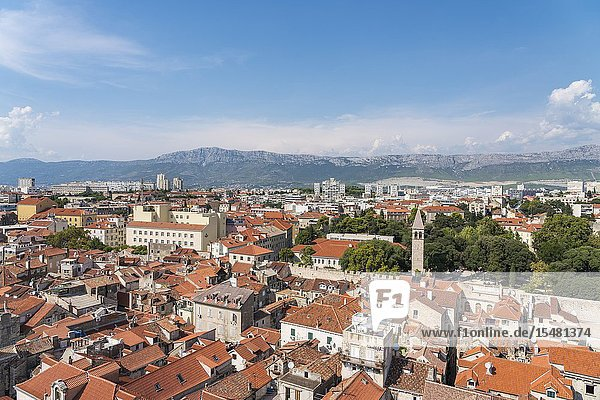 View of the old town from the bell tower of St Domnius. Split - Dalmatia county  Croatia.