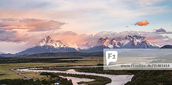 Paine Horns  Cerro Paine and Cerro Paine Grande at dawn  with Serrano river in the foreground. Torres del Paine National Park  Ultima Esperanza province  Magallanes region  Chile.