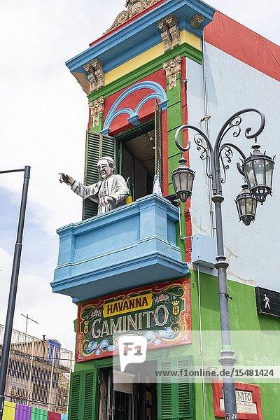 Statue of Pope Francis on a terrace. El Caminito Street  La Boca district  Buenos Aires  Argentina.