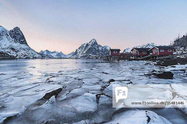 Reine Bay at sunset in winter. Reine  Nordland county  Northern Norway  Norway.