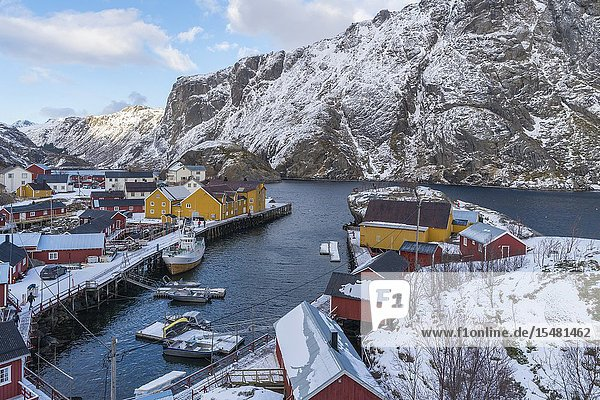 Boats in the harbour of the village in winter. Nusfjord  flakstad municipality  Nordland county  Northern Norway  Norway.