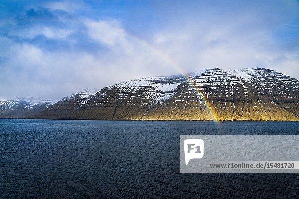 Rainbow over Kunoy Island  Nordoyar  Faroe Islands  Denmark.