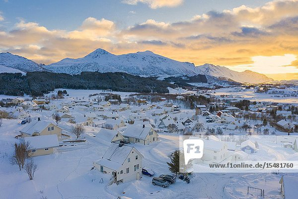 Traditional houses covered with snow  Leknes  Vestvagoy  Lofoten Islands  Norway.