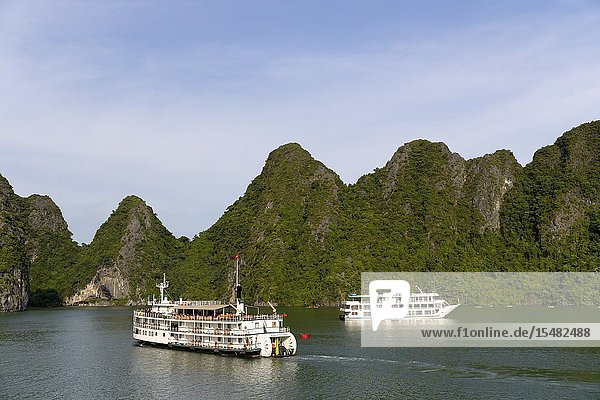 Boat and cruises by Halong Bay listed as World Heritage by UNESCO  Quang Ninh Province  Vietnam  Asia.