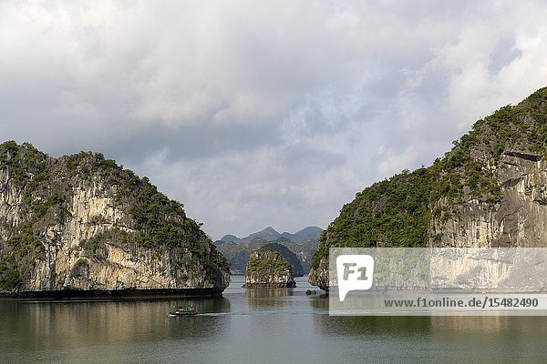 Boats in Ha Long bay. World heritage site of UNESCO  karstic rocks at Ti Top site. Quang Ninh Province  Vietnam  Asia.
