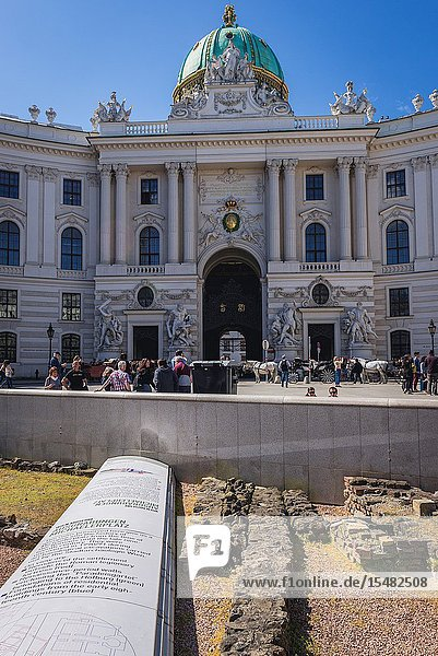 St Michael's Wing of Hofburg Palace and Vindobona Roman military camp remains in Vienna  Austria.