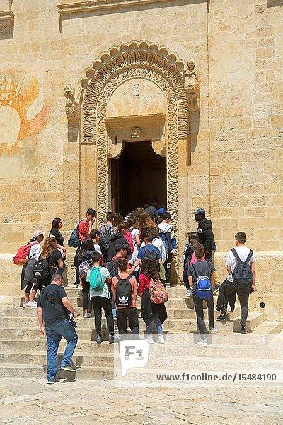 Group of people going into Matera Cathedral  Matera  Basilicata  Italy.