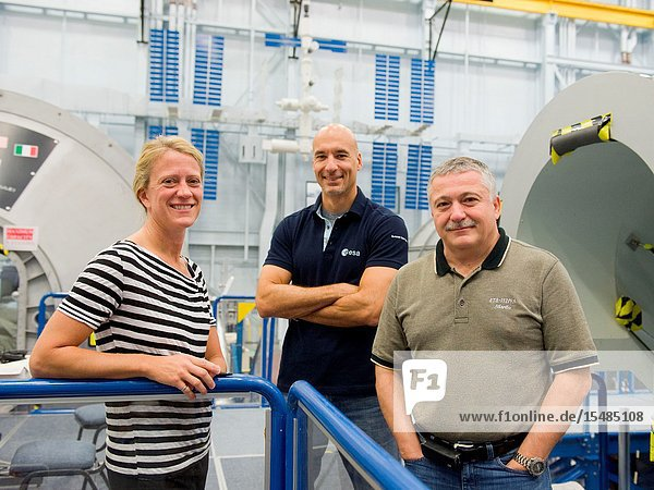 Russian cosmonaut Fyodor Yurchikhin (right)  Expedition 36 flight engineer and Expedition 37 commander  along with NASA astronaut Karen Nyberg and European Space Agency astronaut Luca Parmitano  both Expedition 3637 flight engineers  are pictured during an emergency scenario training session in the Space Vehicle Mock-up Facility at NASA's Johnson Space Center.