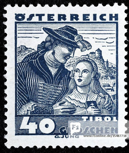 Women from the Lower Inn Valley  Tyrol  costume  postage stamp  Austria  1934.