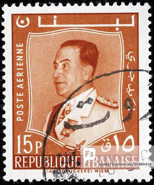 President Fuad Chehab (1958-1964)  postage stamp  Lebanon  1965.