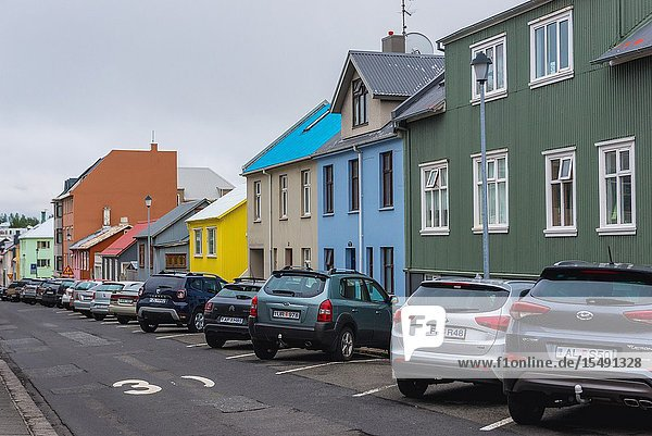 Street in Reykjavik  capital city of Iceland.