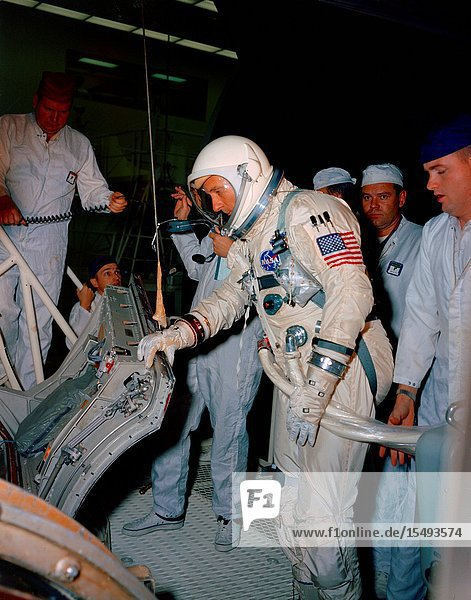 Astronaut Thomas P. Stafford  command pilot of the Gemini-9 prime crew  undergoes familiarization training with the Gemini-9 spacecraft at the McDonnell plant in St. Louis.