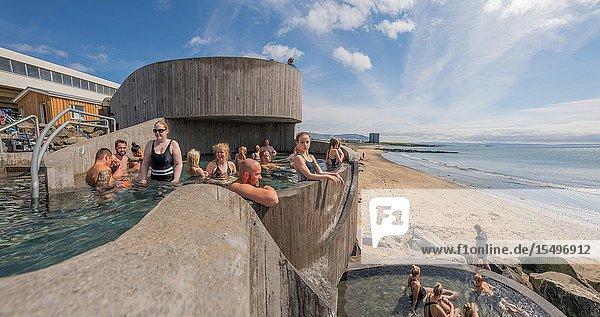 Gudlaug hot tubs  located at Langasandur Beach  Akranes  Iceland.