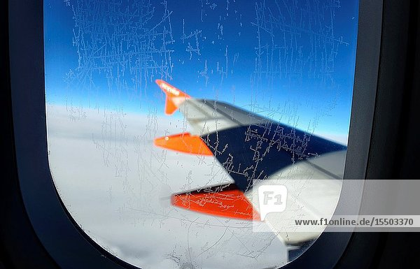 Ice crystals on plane window