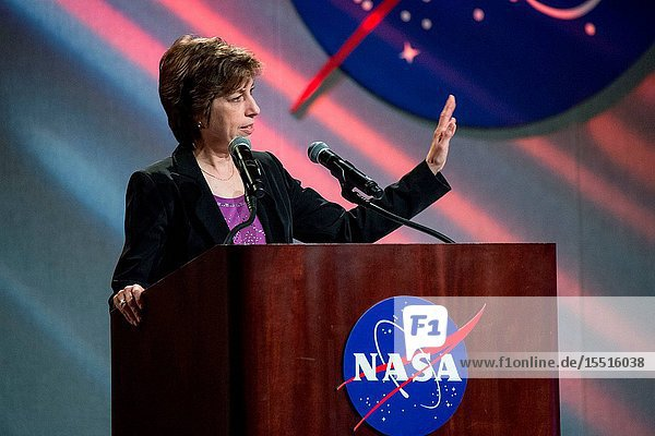 Johnson Space Center Director Ellen Ochoa speaks to center personnel during an all hands on Feb. 2  2015 in Houston Texas. During this closed circuit televised event she spoke on the centers overall role in NASA's present and future vision. Photographer Mark Sowa.