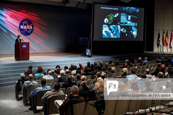 Johnson Space Center Director Ellen Ochoa speaks to center personnel during an all hands on Feb. 2,  2015 in Houston Texas. During this closed circuit televised event she spoke on the centers overall role in NASA's present and future vision. Photographer Mark Sowa.