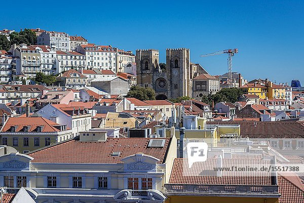 Aerial view from Rua Augusta Arch in Lisbon  Portugal with Se Cathedral.
