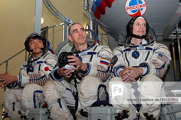 At the Gagarin Cosmonaut Training Center in Star City  Russia  Expedition 48-49 prime crew members Takuya Onishi of the Japan Aerospace Exploration Agency (left)  Anatoly Ivanishin of Roscosmos (center) and Kate Rubins of NASA (right) field questions from reporters May 27 during their final Soyuz qualification exams. Rubins  Onishi and Ivanishin will launch June 24 on the Soyuz MS-01 spacecraft from the Baikonur Cosmodrome in Kazakhstan for a four-month mission on the International Space Station.