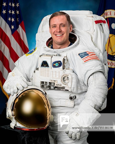 Portrait of Expedition 52 NASA Astronaut Jack Fischer in an Extravehicular Mobility Unit ( EMU) with helmet. JSC NASA Photographer: Robert Markowitz