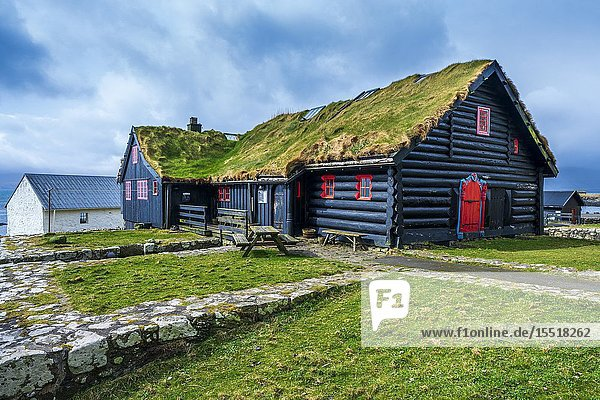 Kirkjubøargarður one of the oldest still inhabited wooden houses of the world  Kirkjubøur  Faroe Islands  Denmark  Europe.