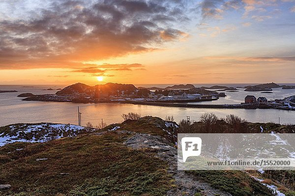 View on the small village of Henningsvaer at sunrise from the island of Engoya  Lofoten islands  Nordland  norway  europe.