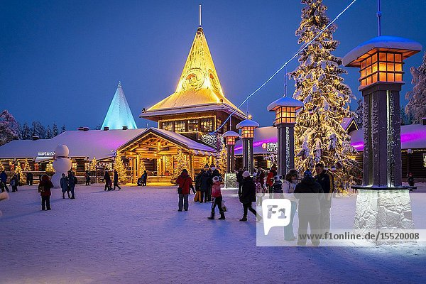 People in front of Santa Claus Office  Santa Claus Village  Rovaniemi  Lapland  Finland  Europe.