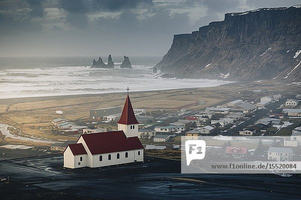 Vik church and cliffs. Vik  Southern Iceland.