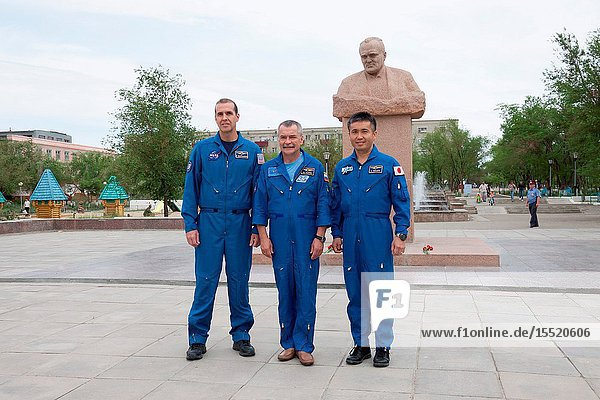Expedition 3637 backup crew members Rick Mastracchio of NASA (left)  Mikhail Tyurin (center) and Koichi Wakata of the Japan Aerospace Exploration Agency pose for pictures in front of a statue of Russian space Great Designer Sergei Korolev during a tour of the city of Baikonur  Kazakhstan May 19. The trio is serving as backups for prime crew members Karen Nyberg of NASA  Soyuz Commander Fyodor Yurchikhin and Luca Parmitano of the European Space Agency  who are preparing for launch May 29  Kazakh time  in their Soyuz TMA-09M spacecraft to begin a 5 ½ month mission on the International Space Station.Victor Zelentsov