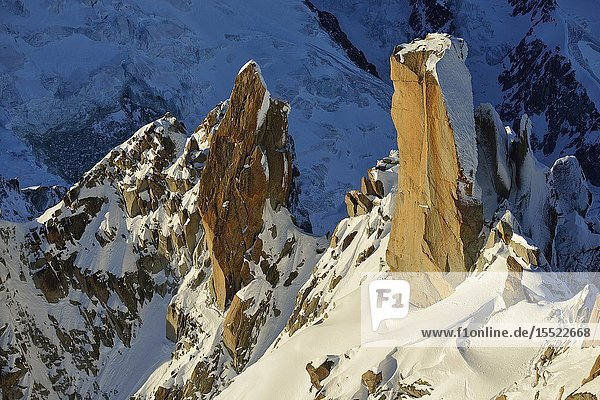 Arête des Cosmiques from Aiguille du Midi. French Alps