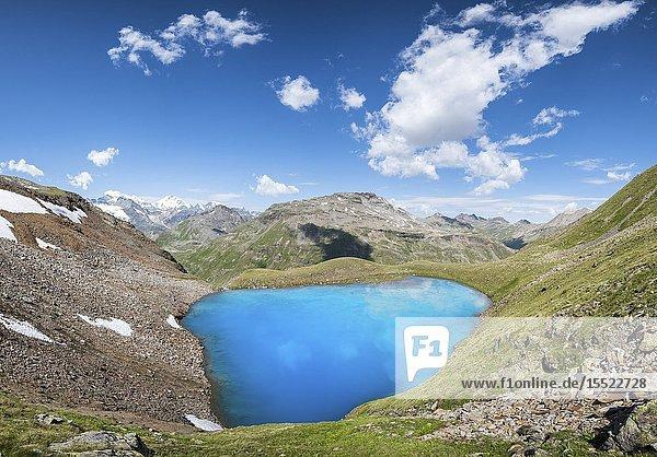 The Lago Vago and peaks of Livigno  Province of Sondrio  Valtellina  Lombardy  Italy  Europe.