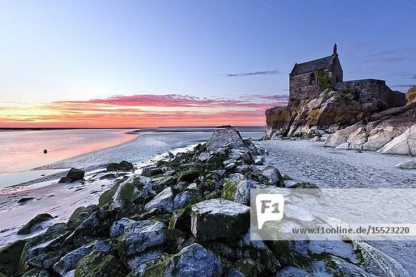 Sunset at Saint-Aubert chapel  Mont-Saint-Michel  Manche departement  Normandy  France  Europe.