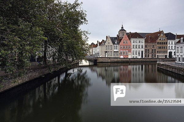 View of the city center at dusk  municipality of Bruges  West Flanders  Belgium  Europe.