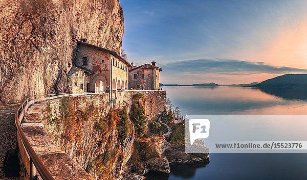 Hermitage of Santa Caterina del Sasso  Lake Maggiore  Lombardy  Italy.