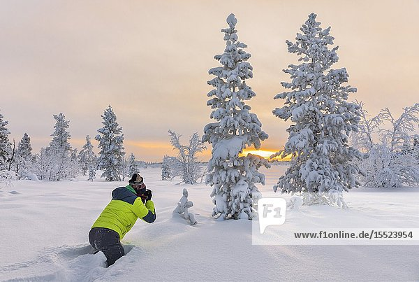 Photographer in the snow during sunrise (Enontekiö  Lapland  Finland  Europe) (MR).