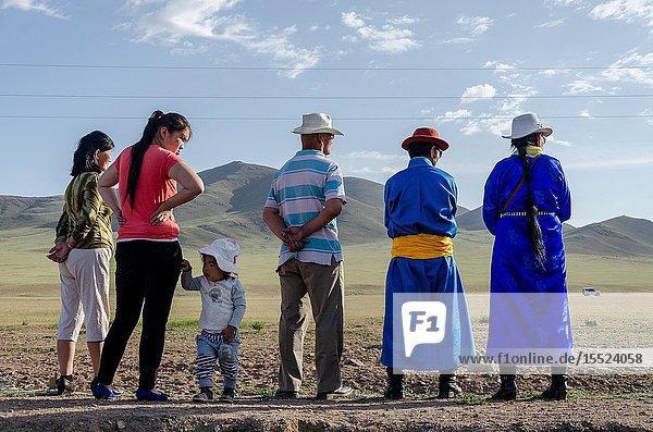 Spectators waiting for the Nadaam horse race  Murun  Mongolia.
