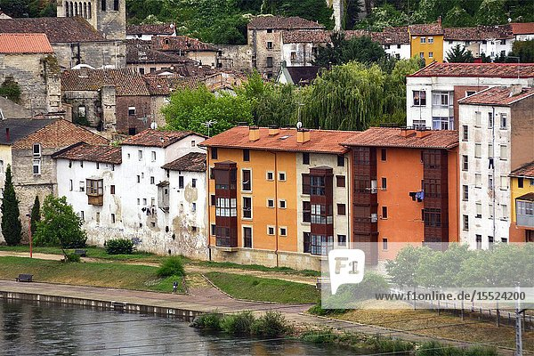 Miranda de Ebro view for Ebro river and historic part of the city  Burgos province  Castile and León  on the border with the province of Álava and the autonomous community of La Rioja  Spain  Europe