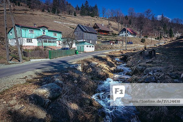 Sokolec village in Landscape Park of Gory Sowie (Owl Mountains) mountain range in Central Sudetes  Poland.