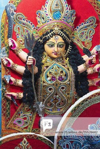 Durga Deity at Kumartuli in Kolkata  India.