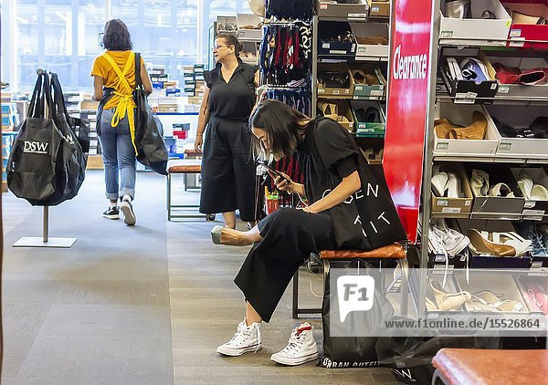 Shoppers in a DSW shoe store in Herald Square in New York on Friday  August 2  2019. Footwear is expected to be a victim of the escalating trade war with China  as 70% of shoes sold in the U. S. are imported from China. (© Richard B. Levine).