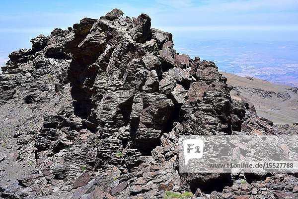 Black schist in Sierra Nevada National Park. Schist is a metamorphic rock.