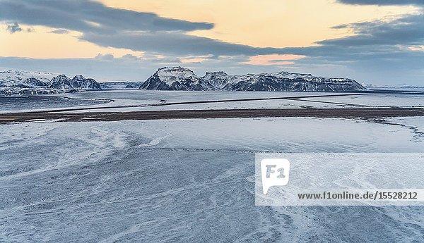 Winter  Mt. Hafursey in Myrdalssandur  South Coast  Iceland.